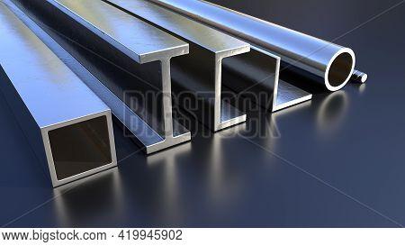 Various Metal Profile On The Floor. Concept Industrial 3d Rendering