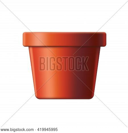 Clay Flower Pot. Ordinary & Clean. Vector Illustration. Isolated Background.