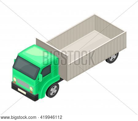 High Sided Truck Or Lorry As Motor Vehicle And Urban Transport For Transporting Cargo Isometric Vect