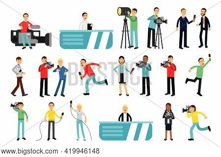 Man And Woman Character As Journalist Or Reporter From Studio Broadcasting The News With Cameraman F
