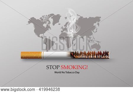 No Smoking And World No Tobacco Day With Many People And Hand Anti Cigarette In City,paper Collage S