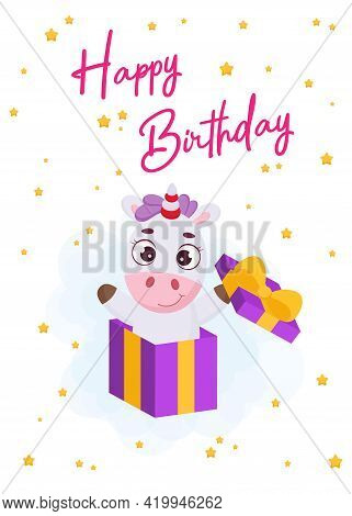 Happy Birthday Printable Party Greeting Card With Cute Magical Unicorn Jumping From Gift Box. Birthd
