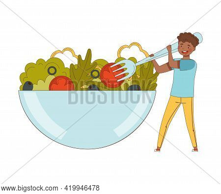 Young African American Male With Huge Fork Eating Vegetable Salad From Huge Bowl Vector Illustration