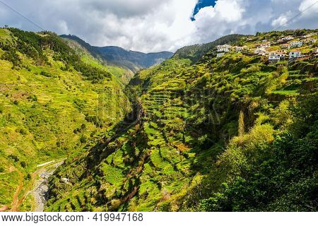 Madeira Island, Portugal. Beautiful  View Of The Island Of Eternal Spring With Scenic Nature, Laurel