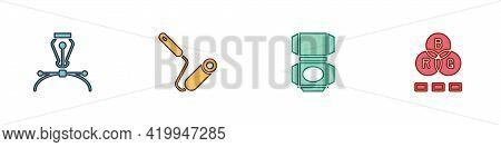 Set Fountain Pen Nib, Paint Roller Brush, Carton Cardboard Box And Rgb Color Mixing Icon. Vector