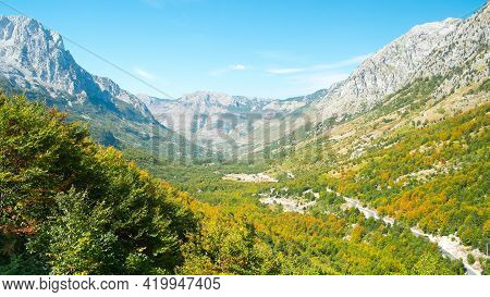 Beautiful Views Of The Valley And The Surrounding Mountains. Theth National Park, Albania. The Theme