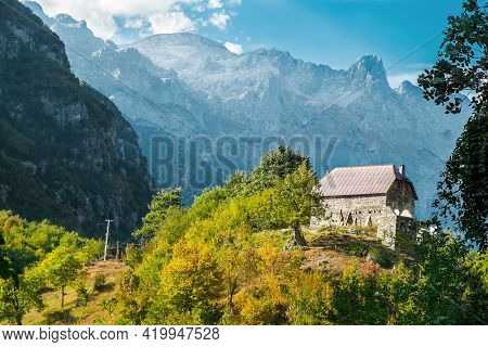 Beautiful Views From The Village Theth  And The Surrounding Mountains. Theth National Park, Albania.