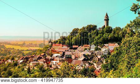 Beautiful Panorama View Of Town Stramberk With Landmark Tower (truba), Czechia. Photo Theme Is Touri