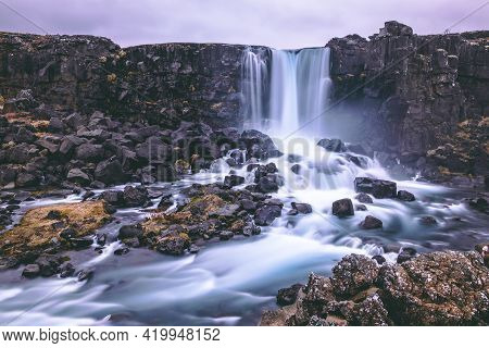 Oxarárfoss - Waterfall On The Thingvellir National Park, Iceland. Photographed With A Long Shutter T