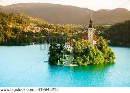 Lake Bled And Island With Church In Slovenia. One Of The Most Popular Places In Slovenia. Beautiful