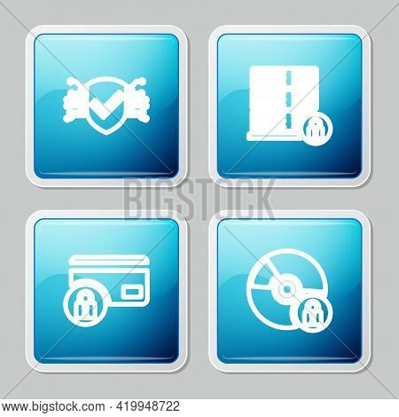 Set Line Cyber Security, Server With Lock, Credit Card And Cd Or Dvd Disk Icon. Vector