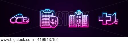 Set Line Cat And Pills, Clinical Record Pet, Veterinary Medicine Hospital And Clinic. Glowing Neon I