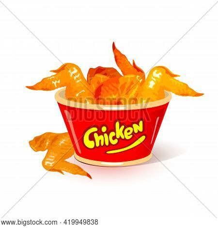 Fried Chicken Wings With Golden Crust. Vector Quick Snack Served In Bucket. Medium Drip Of Fastfood
