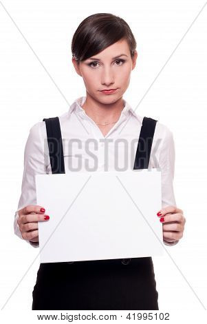 Sad businesswoman with a blank sheet of paper in her hands isolated on white