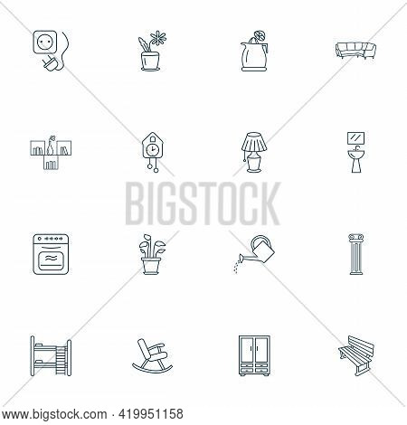 Interior Icons Line Style Set With Plant Pot, Bench, Watering Can And Other Sink Elements. Isolated