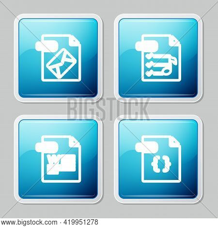 Set Line Msg File Document, M3u, Doc And Css Icon. Vector