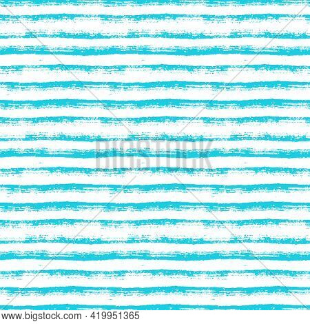 Abstract Seamless Pattern With Paint Brush Lines. Blue And White Striped Background With Hand Drawn