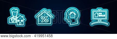 Set Line Realtor, House With Percant, Man Dreaming About Buying House And Hanging Sign For Sale. Glo