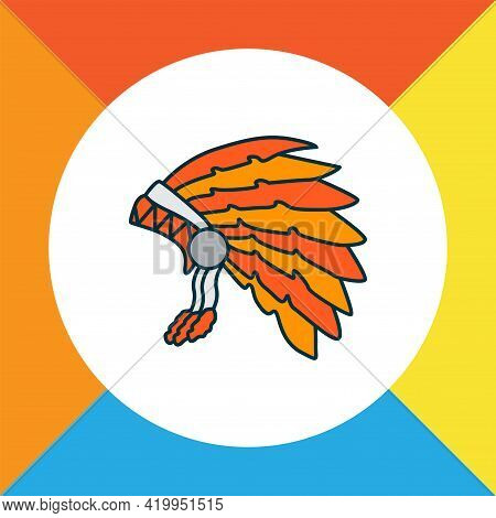Thanksgiving Costume Icon Colored Line Symbol. Premium Quality Isolated Tribe Element In Trendy Styl