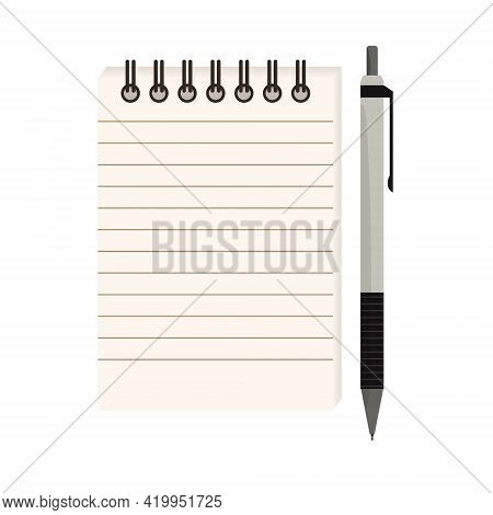 Flat Vector Illustration Of Spiral Notepad With Lines With Space For Text And Mechanical Pencil. Not