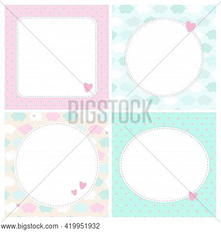 Set Of Cute Cards, Letters, Blanks, Pages For Notes In Childish Style In Unicorn Theme. Vector Templ