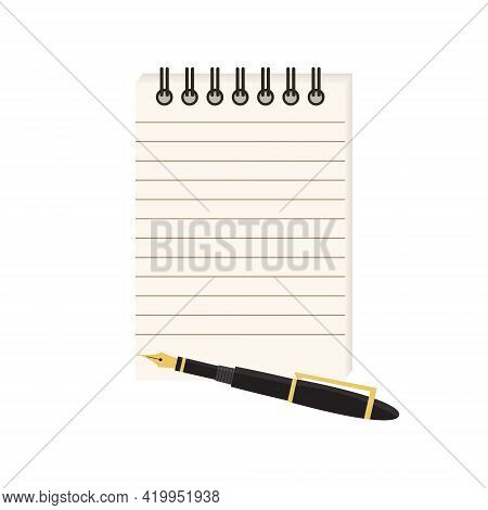 Flat Vector Illustration Of Spiral Notepad With Lines With Space For Text And Fountain Ink Pen. Note