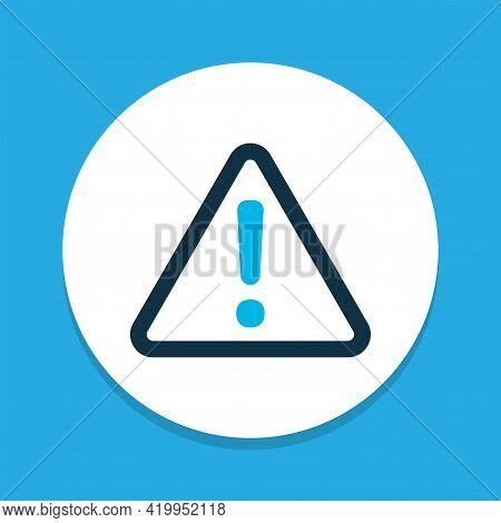 Caution Icon Colored Symbol. Premium Quality Isolated Warning Element In Trendy Style.