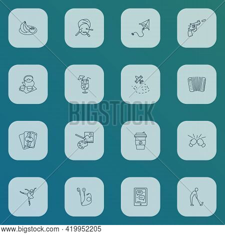 Hobby Icons Line Style Set With Painting, Cocktail, Aeromodeling And Other Communication Elements. I