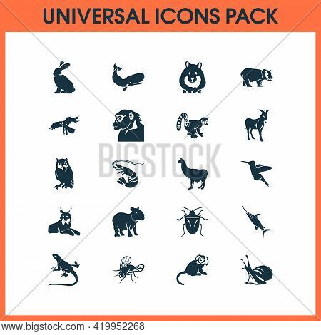 Fauna Icons Set With Chimpanzee, Hippo, Lynx And Other Hippopotamus Elements. Isolated Vector Illust