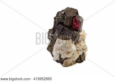 Macro Tourmaline Mineral Stone On White Background