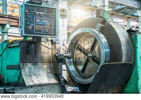 Lathe Automated Machine In Factory Workshop, Boring Of Part With Milling Tool. Metalworking Machine