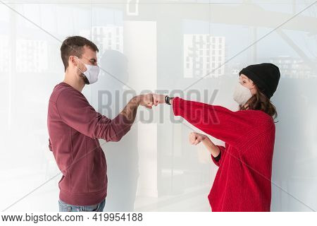 Greeting Giving Hand Fist Bump. Alternative Handshakes. Fist Collision Bump Greeting. People Greetin