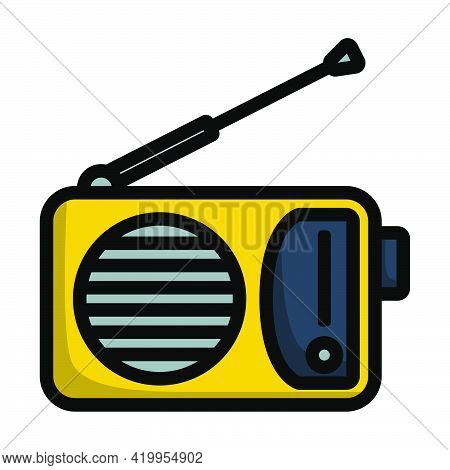 Radio Icon. Editable Bold Outline With Color Fill Design. Vector Illustration.