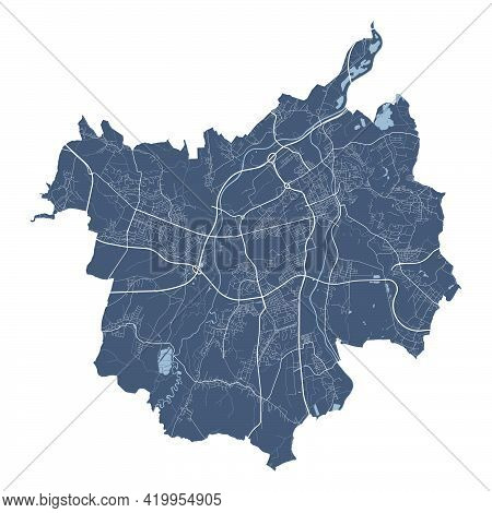 Ostrava Map. Detailed Vector Map Of Ostrava City Administrative Area. Cityscape Poster Metropolitan