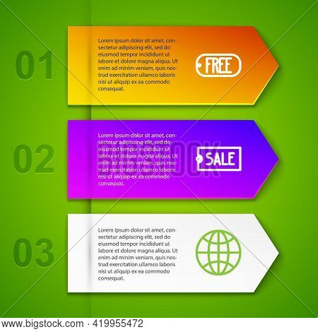 Set Line Price Tag With Text Free, Sale, Worldwide And Hand Holding Coin Money. Business Infographic