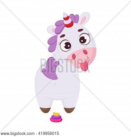 Cute Magical Unicorn With Rainbow Colored Poop. Funny Magic Unicorn Cartoon Character For Print, Car