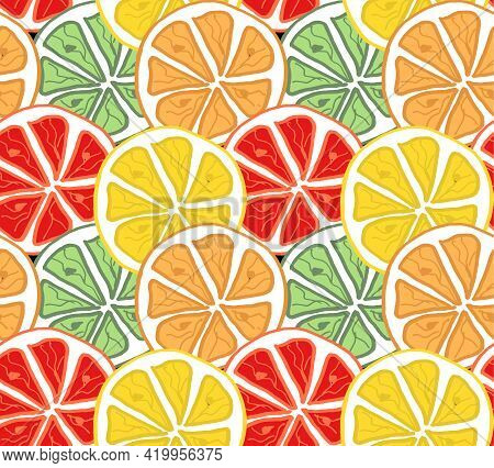 Seamless Bright Light Pattern With Fresh Citrus For Fabric, Drawing Labels, Print On T-shirt, Wallpa