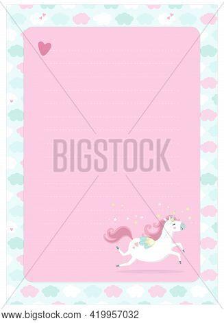 Letter, Blank, Wish List, Page For Notes In Childish Style In Unicorn Theme. Vector Template Suitabl