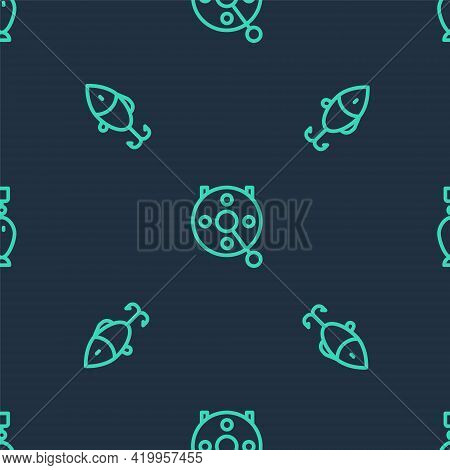 Set Line Spinning Reel For Fishing, Fishing Lure And Spoon On Seamless Pattern. Vector