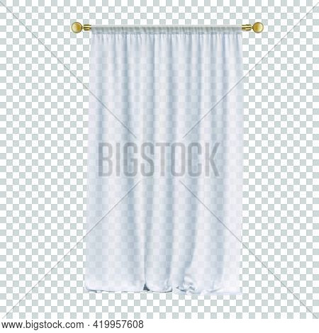White Simple Curtains On A Golden Cornice Isolated On A Transparent Background. Vector Realistic Ill