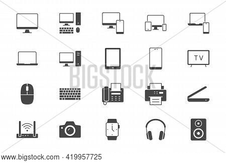 Technology Glyph Flat Icons. Vector Illustration Include Icon - Computer, Monitor, Laptop, Cellphone