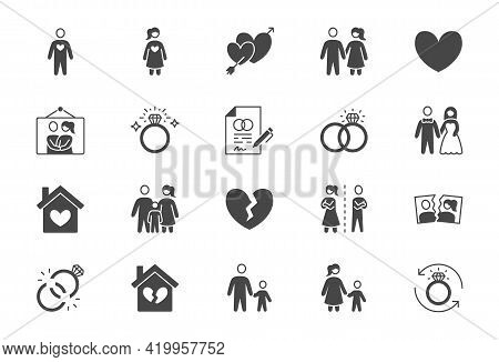Relationship Status Glyph Flat Icons. Vector Illustration Include Icon - Husband, Bachelor, Wife, Ma