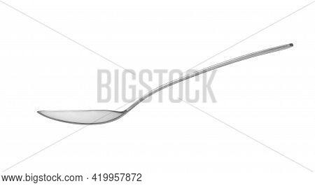 Metallic Iron Spoon Realistic On White Background