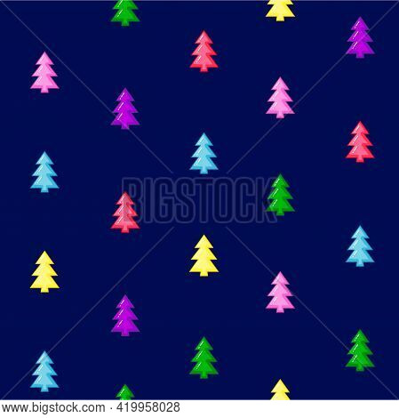 Bright And Joyful Seamless Pattern With Multicolor Trees Isolated On The Blue Background. Vector Ill