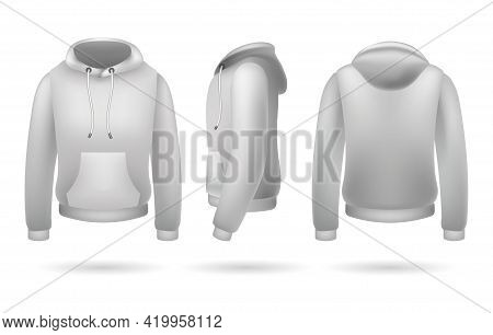 Realistic Sweatshirt With Hood. Front Side And Back Male Pullover Template, Hoodie Jacket Mockup Des