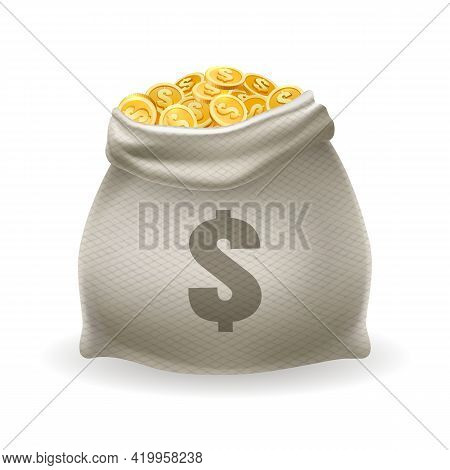 Gold Money Sack. Vintage Cash Dollars Monies Bag, Cartoon Golden Coins For Investment And Savings Co