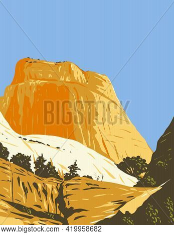 Wpa Poster Art Of The Golden Throne Rock Formation Dome Mountain In Capitol Reef National Park In Wa