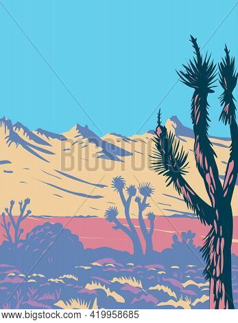 Wpa Poster Art Of The Castle Mountains Range And Joshua Tree In The Mojave Desert Within Castle Moun