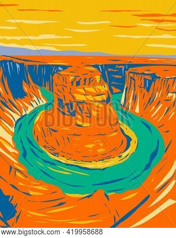Wpa Poster Art Of Horseshoe Bend, A Horseshoe-shaped Incised Meander Of Colorado River Located In Pa