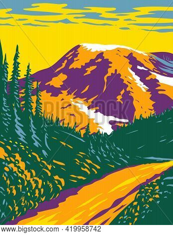 Wpa Poster Art Of Mount Rainier National Park, An Active Stratovolcano In The Cascades Located In Pi